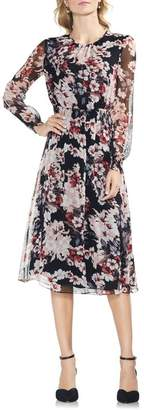 Vince Camuto Timeless Blooms Cinch Waist Midi Dress