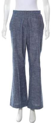 Oscar de la Renta Mid-Rise Chambray Pants