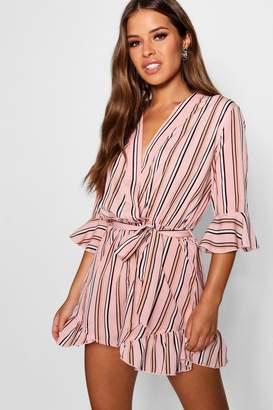 boohoo Petite Stripe Wrap Playsuit
