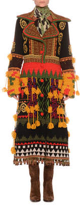 Etro Notched-Collar Button-Front Mixed-Embroidered Long Coat w/ Fringe
