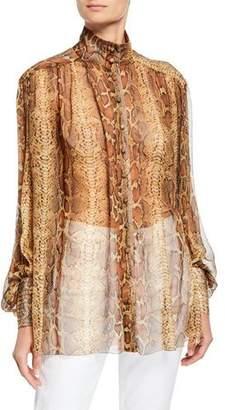 Zimmermann High-Neck Silk Snake-Print Button-Up Blouse