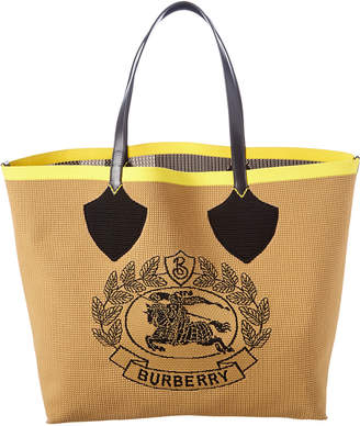 Burberry Giant Knit Archive Crest Leather-Trim Tote