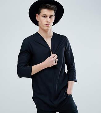 Asos DESIGN Tall Regular Fit Longline Viscose Shirt In Black With V Neck