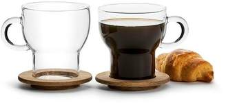 Sagaform Nature Mugs with Oak Coasters (Set of 2)
