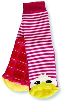 Country Kids Big Girls' Non-Skid Animal Slipper Socks Dee Dee Duck, Pack of 1, Fits 6-8 Years