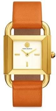 Tory Burch The Phipps Geometric Leather-Strap Quartz Watch