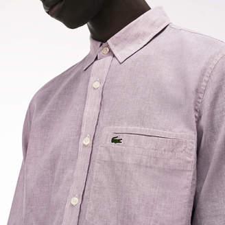 Lacoste Men's Regular Fit Poplin And Linen Shirt