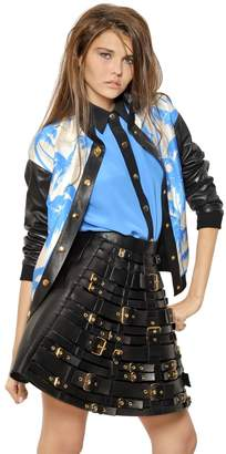 Fausto Puglisi Leather & Silk Twill Palm Bomber Jacket