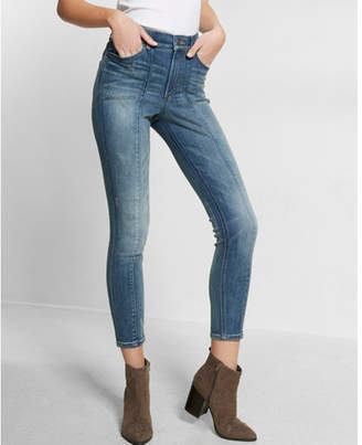 Express high waisted front seam ankle jean legging $88 thestylecure.com