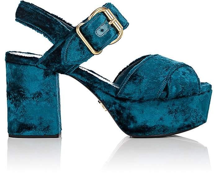 Prada Women's Crushed Velvet Platform Sandals