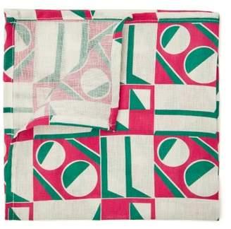 La Doublej - Geometric Print Linen Napkin Set - Womens - Pink Multi