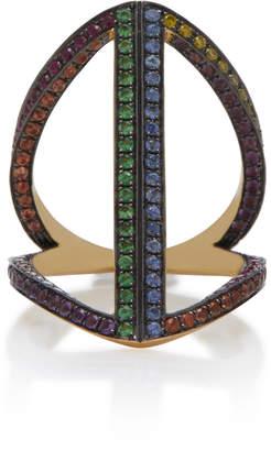 Noor Fares Geometry 101 Rainbow Rhombus 18K Gold Pinkie Ring