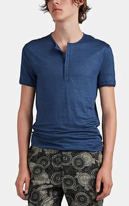 John Varvatos Men's Slub Linen Short-Sleeve Henley - Blue