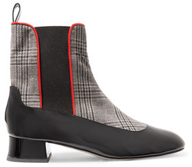 Camilla Elphick Chelsea Girl Checked Houndstooth And Patent-Leather Ankle Boots