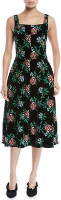 Novis Mumford Square-Neck Sleeveless Fit-and-Flare Floral-Embroidered Velvet Midi Dress