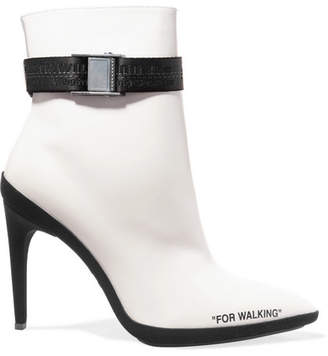 Off-White - For Walking Printed Leather Ankle Boots $1,280 thestylecure.com