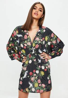 Missguided Black Floral Kimono Dress