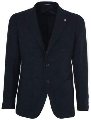 Tagliatore Blue Virgin Wool Super 110's,linen And Silk Jacket.