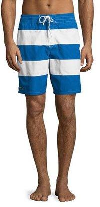 Lacoste Striped Swim Trunks, Blue/White $95 thestylecure.com