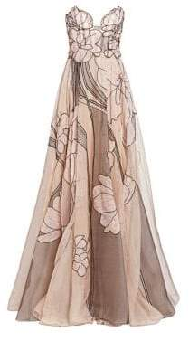 Pamella Roland Women's Silk Organza Beaded Floral Strapless Gown - Nude Multi - Size 12