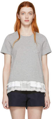 Sacai Grey Cotton Jersey T-Shirt