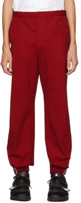 Prada Red Poplin Divisa Trousers