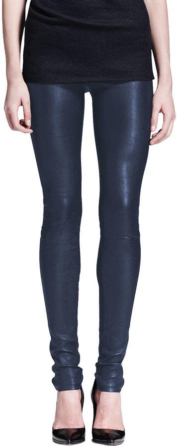 Helmut Lang Leather Leggings, Midnight