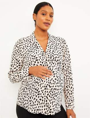 A Pea in the Pod Tiered Zipper Side Access Nursing Blouse
