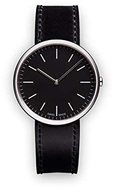 Uniform Wares M35 Swiss Quartz Stainless Steel and Black Leather Watch