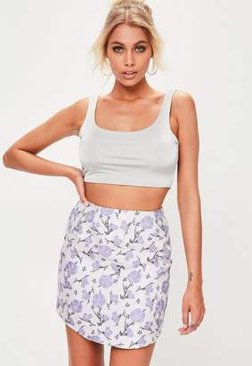 Missguided Purple Jacquard Mini Skirt