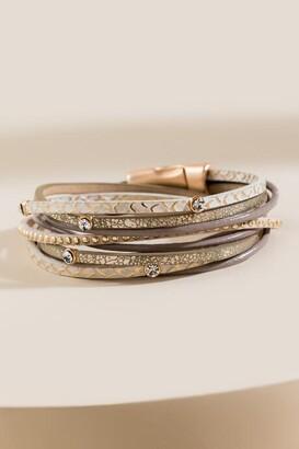 francesca's Mariah Suede Wrap Bracelet - Natural