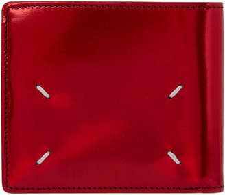 Maison Margiela Red Metallic Leather Bifold Wallet