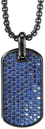 David Yurman Black Titanium & Sterling Silver Pavé Streamline Tag with Blue Saphhires