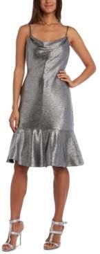 Night Way Nightway Metallic Flounce Midi Dress