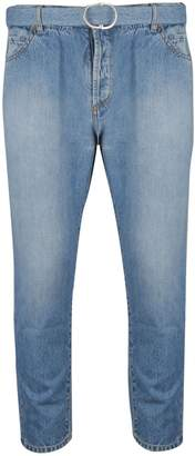 Off-White Off White Belted Straight Cut Jeans