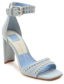 Dolce Vita Eloise Studded Denim Ankle-Strap Sandals
