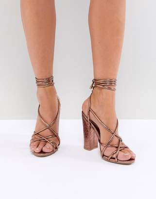 Missguided Croc Multi Strap Block Heel Sandal