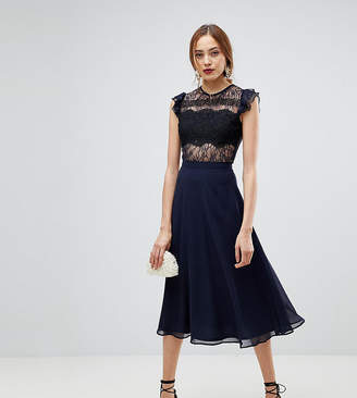 Asos Tall TALL Lace Midi Dress with Lace Frill Sleeve