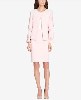 Tahari ASL Floral-Applique Skirt Suit