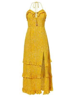 Goodnight Macaroon 'Kiara' Floral Halter Neck Split Maxi Dress