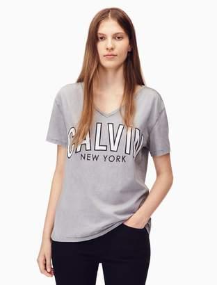 Calvin Klein flocked logo v-neck t-shirt