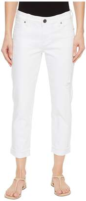 KUT from the Kloth Amy Crop Straight Leg w/ Roll Up Fray in Optic White Women's Jeans