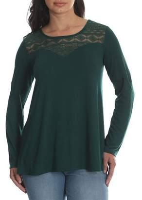 Lee Riders Women's Long Sleeve Knit Top with Lace Yoke