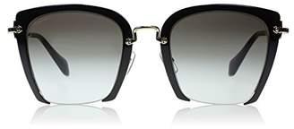Miu Miu Metal Half Rim Sunglasses in Pale Gold MU 52R 1AB0A7 52 52 Brown Gradient