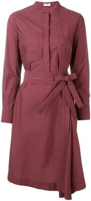 Brunello Cucinelli belted collarless shirt dress