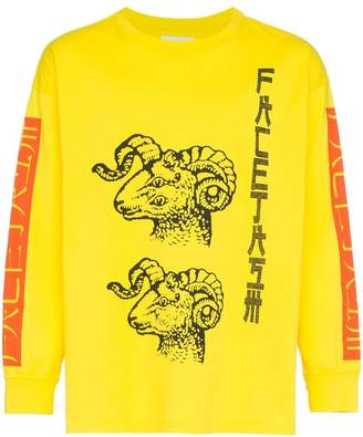 Facetasm Yellow Graphic Print Long-Sleeved Cotton T-Shirt
