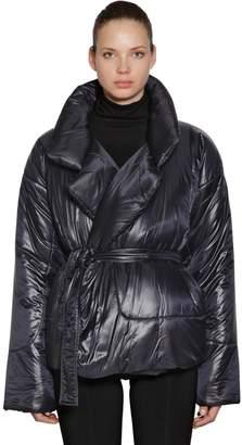 Norma Kamali Metallic Puffer Kimono Jacket W/ Belt