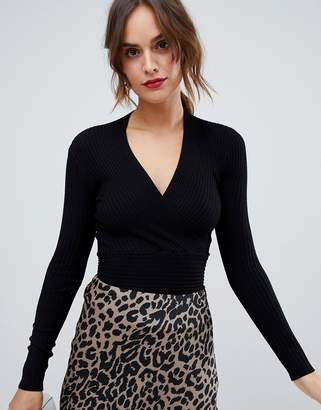 Oasis wrap front knitted sweater in black