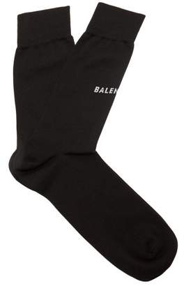 Balenciaga Logo Cotton Blend Socks - Mens - Black
