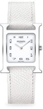 Hermes Heure H Lacquered, Stainless Steel& Leather Strap Watch
